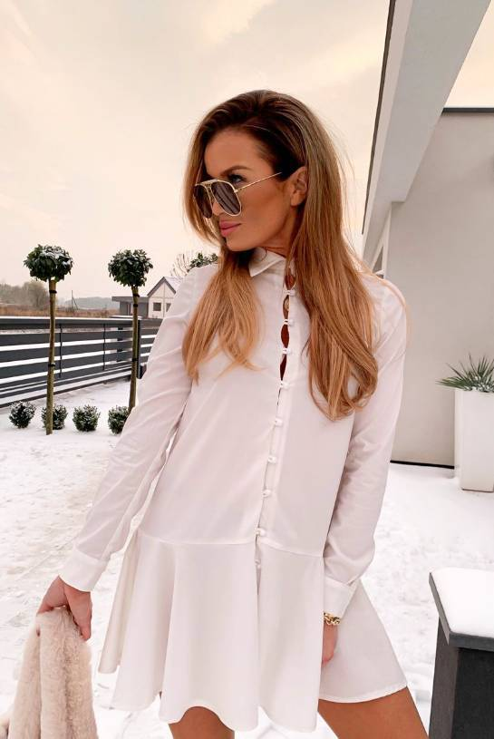 COTTON DRESS ZOE WHITE WITH BUTTONS   SHEILA AW20