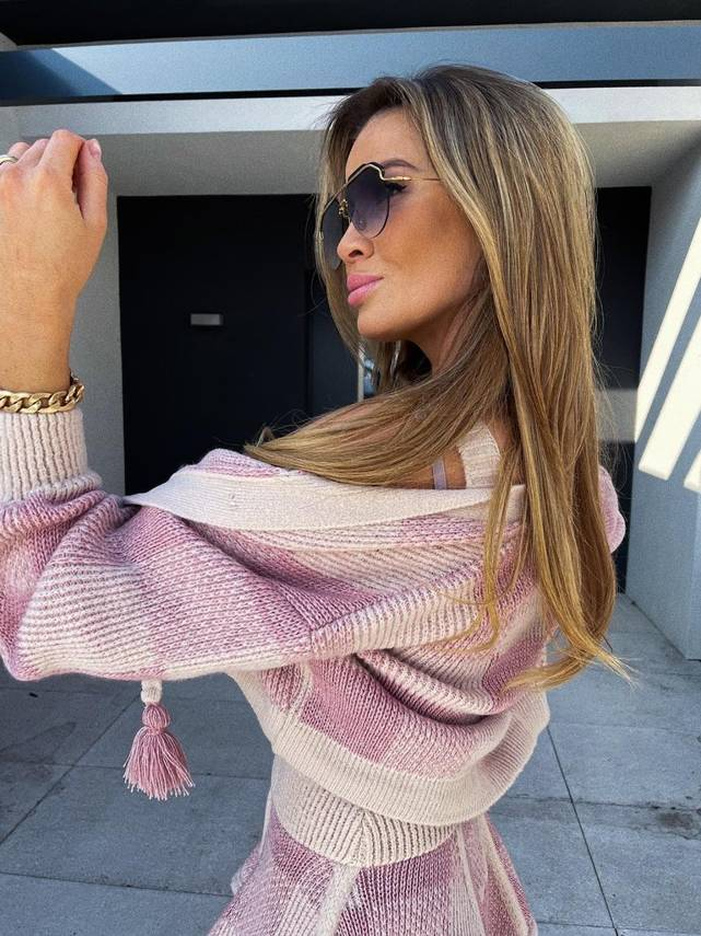 SWEATER PINK & BEIGE CHECK  | SHEILA SS21
